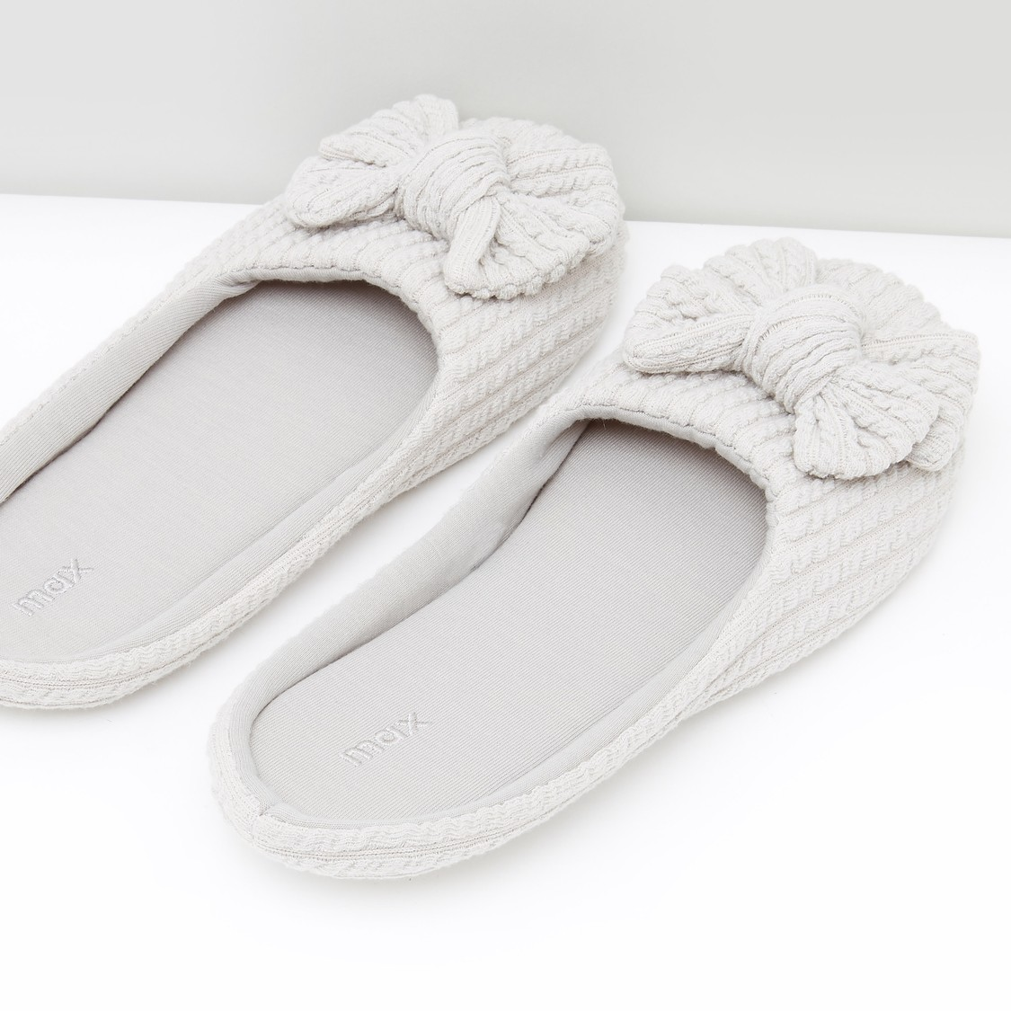 Textured Slip-On Slides with Bow Applique
