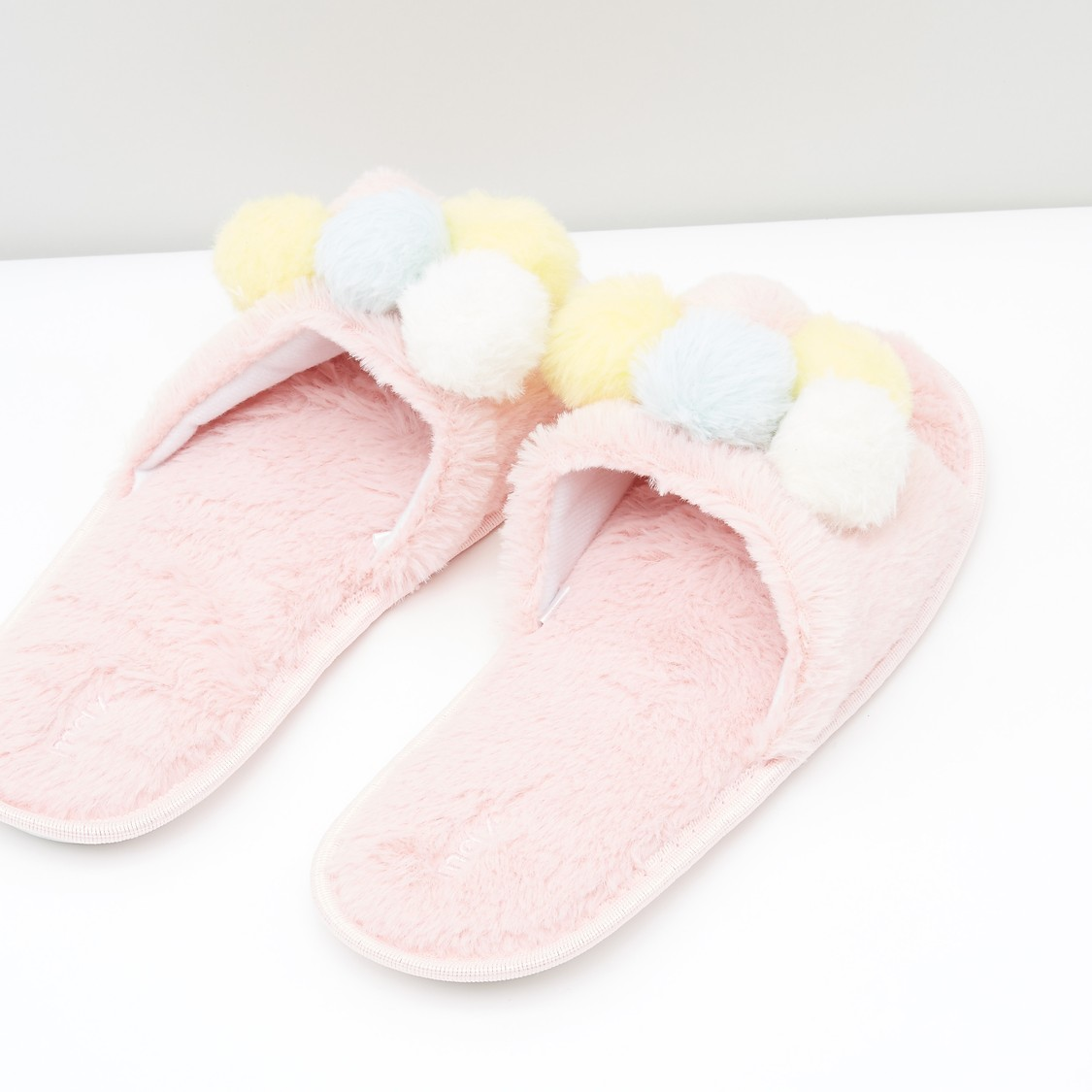 Bedroom Slippers with Pom Poms