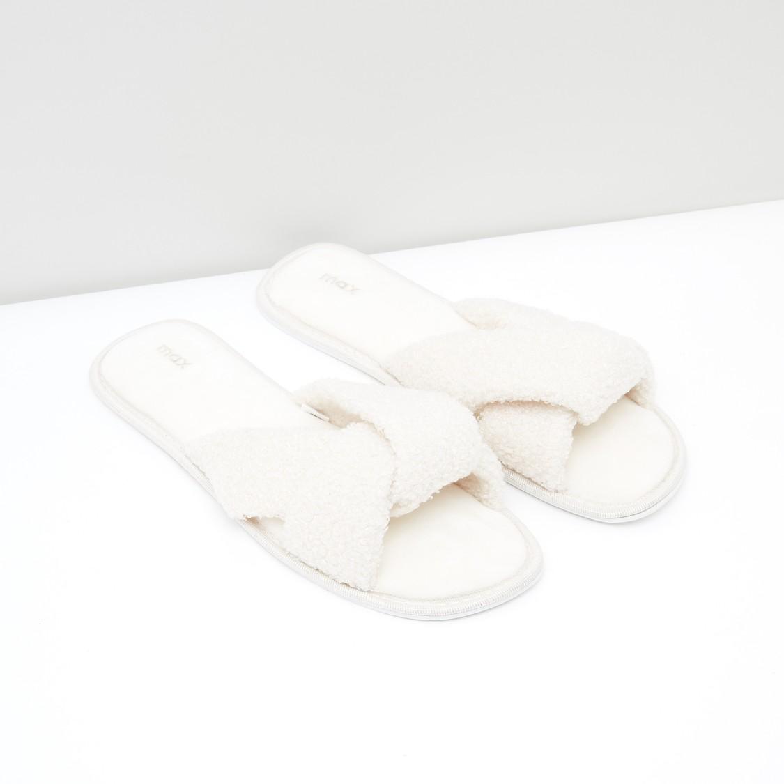 Textured Cross Strap Bedroom Slippers