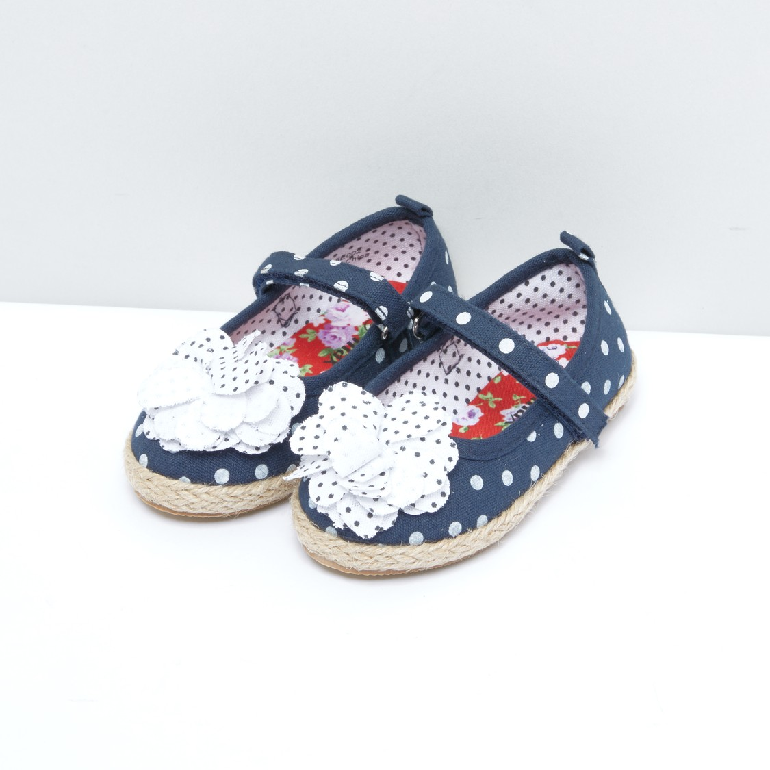 Flower Applique Detail Espadrilles with Hook and Loop Closure