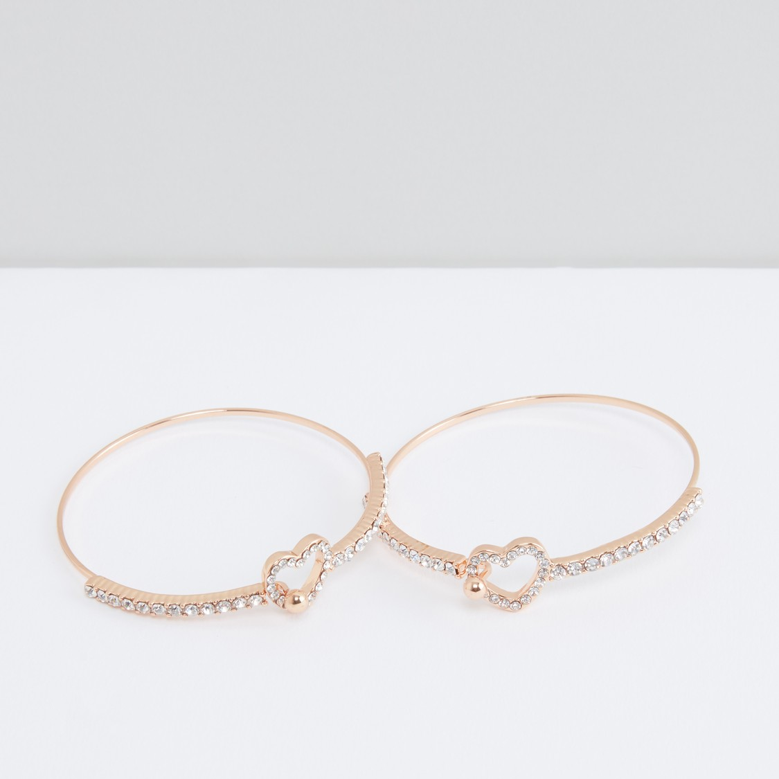 Studded Bangle with Heart Applique - Set of 2