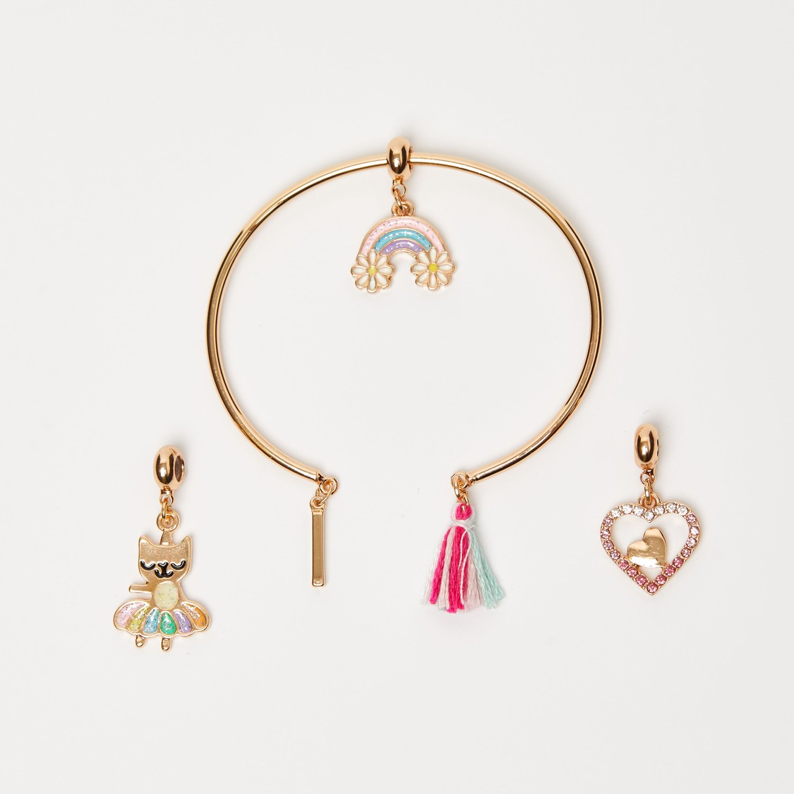 Cuff Bracelet with Tassel and Charms