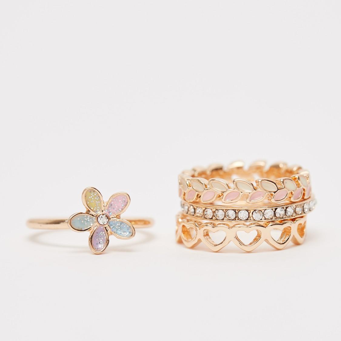 Set of 4 - Embellished Finger Ring