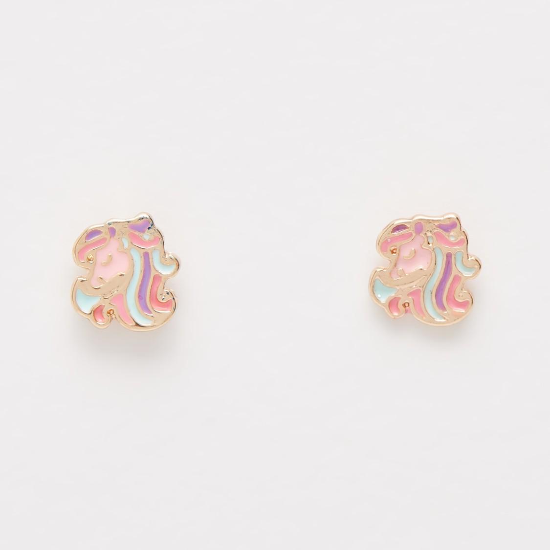 4-Piece Enamel Plated Unicorn Accent Jewellery Set