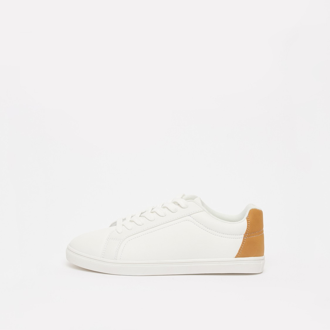 Solid Lace-Up Sneakers with Colour Block Backstay