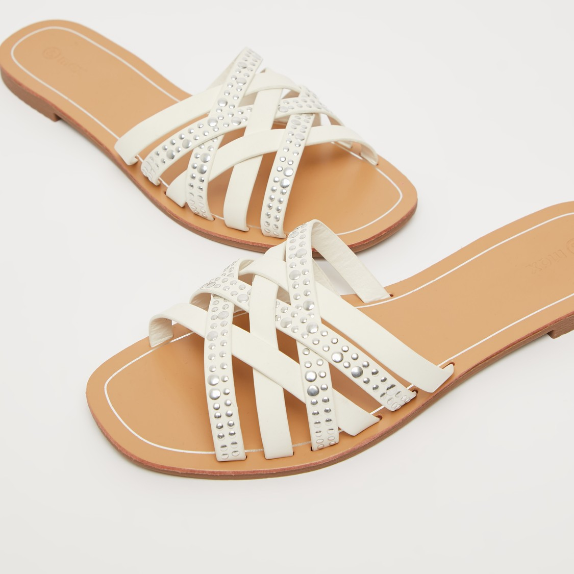 Embellished Sandals with Cross Straps