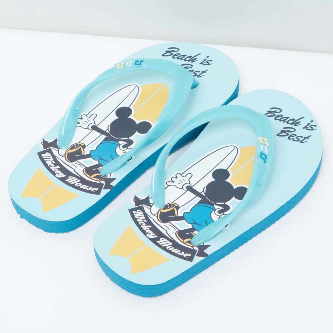 Mickey Mouse Beach is Best Printed Flip Flops