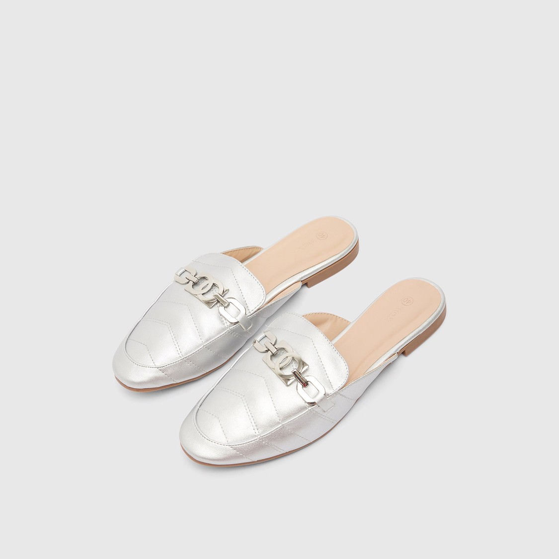 Quilted Chain-Link Detail Slip-On Mules