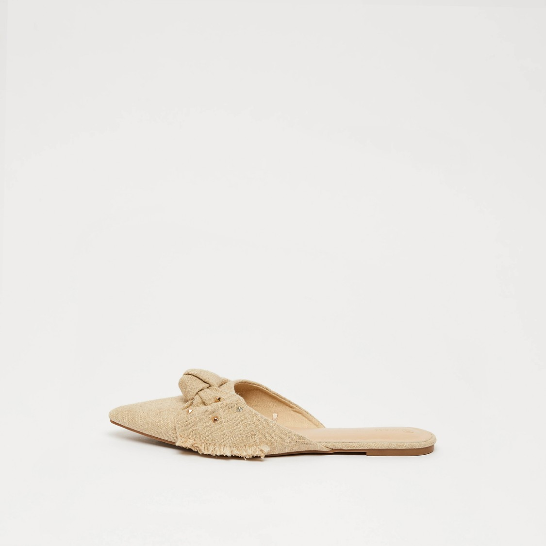 Pointed Toe Flat Mules with Bow Accent