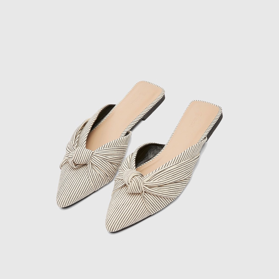 Striped Pointed Toe Mules with Knot Detail