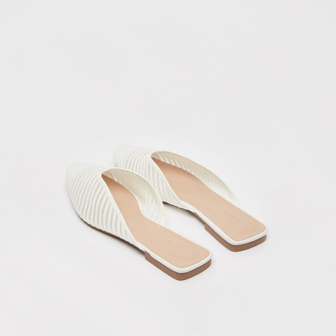 حذاء ميول منسوج مسطح بارز الملمس