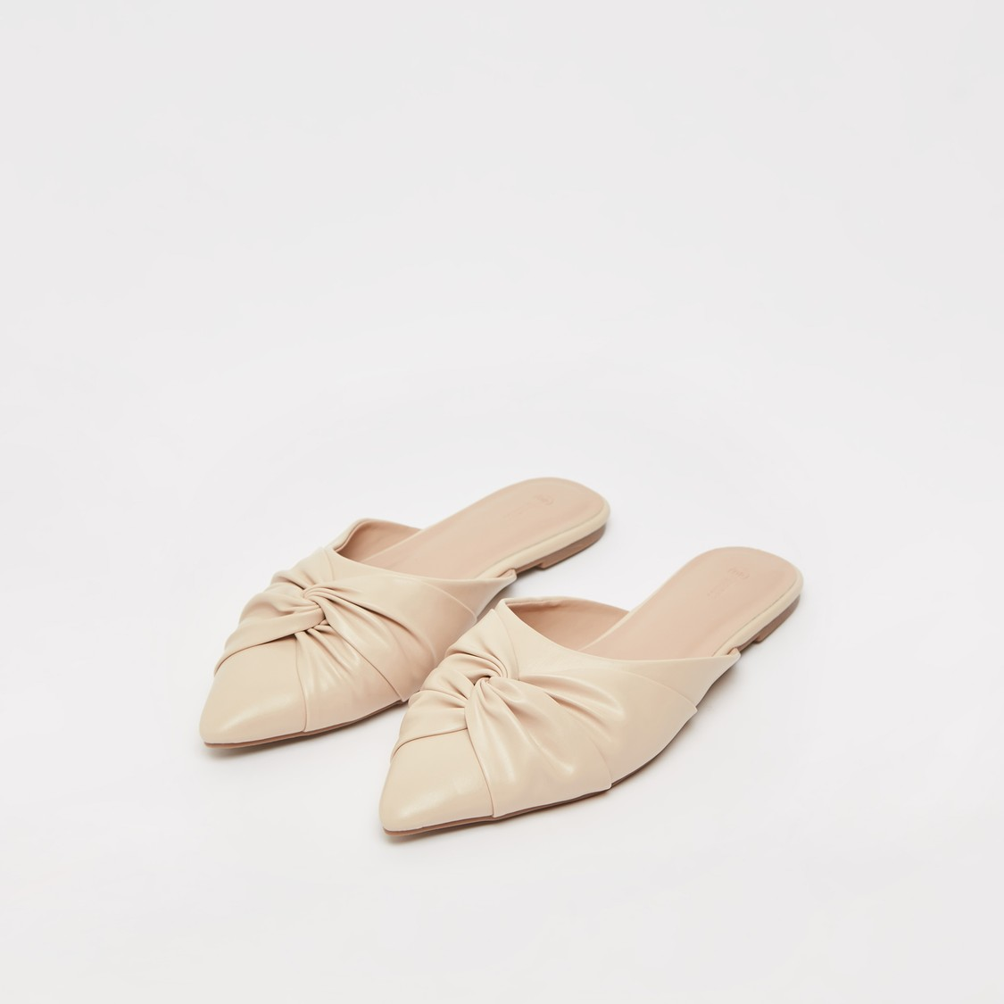 Pointed Toe Ruched Flat Slip-On Shoes