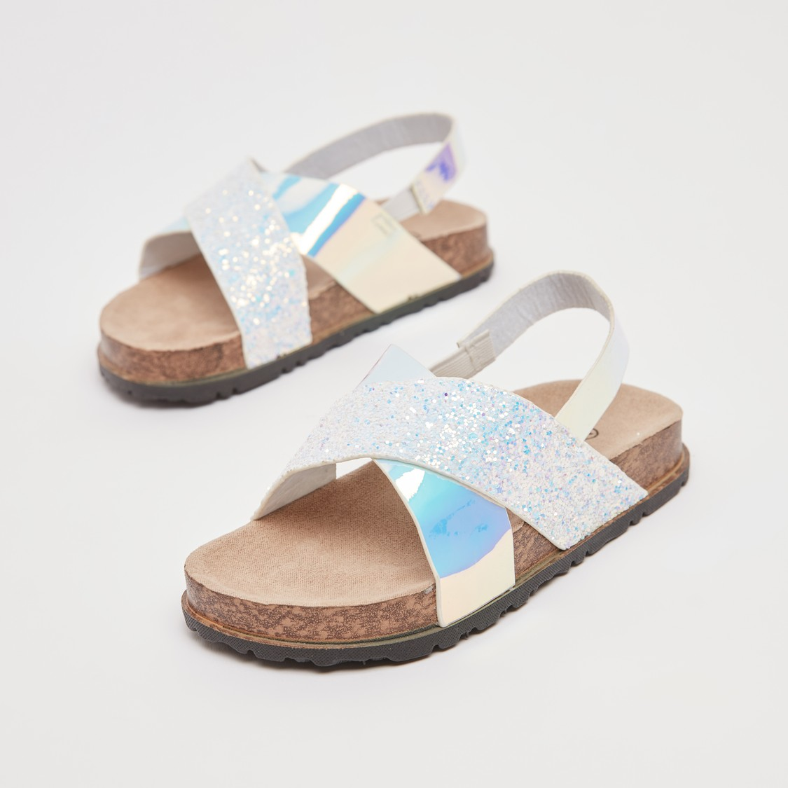 Textured Sandals with Cross Straps and Slingback