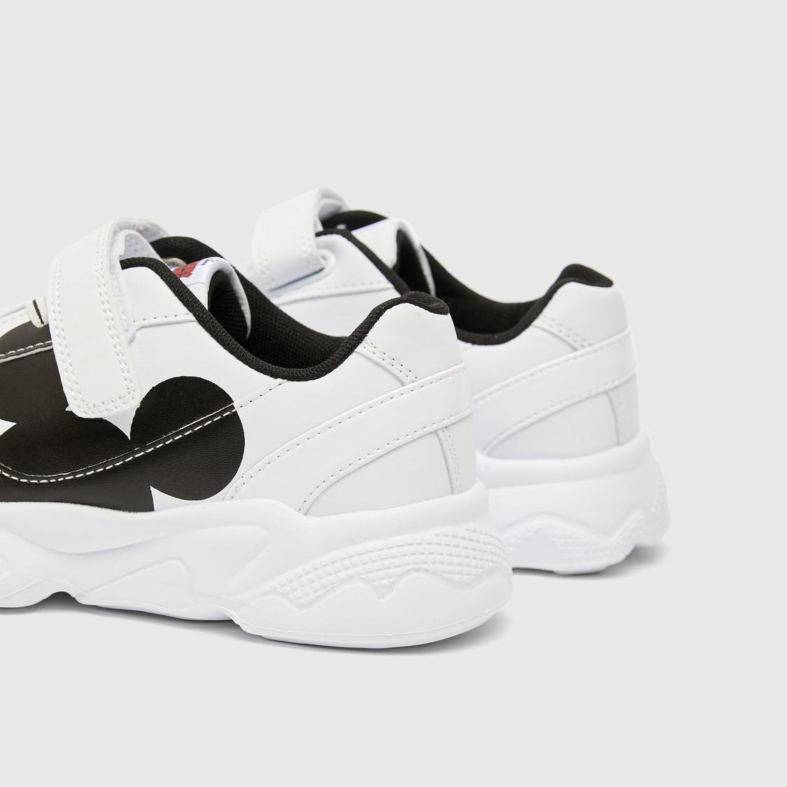 حذاء سنيكرز بطبعات ميكي ماوس مع خطّاف وحلقة إغلاق