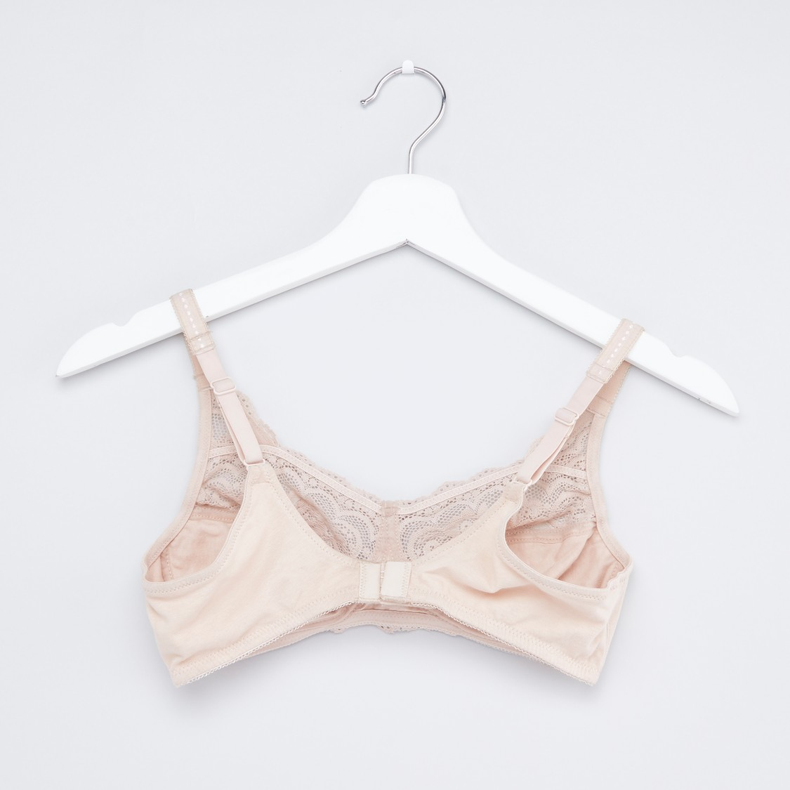 Lace Detail Non-Wired Bra with Hook and Eye Closure