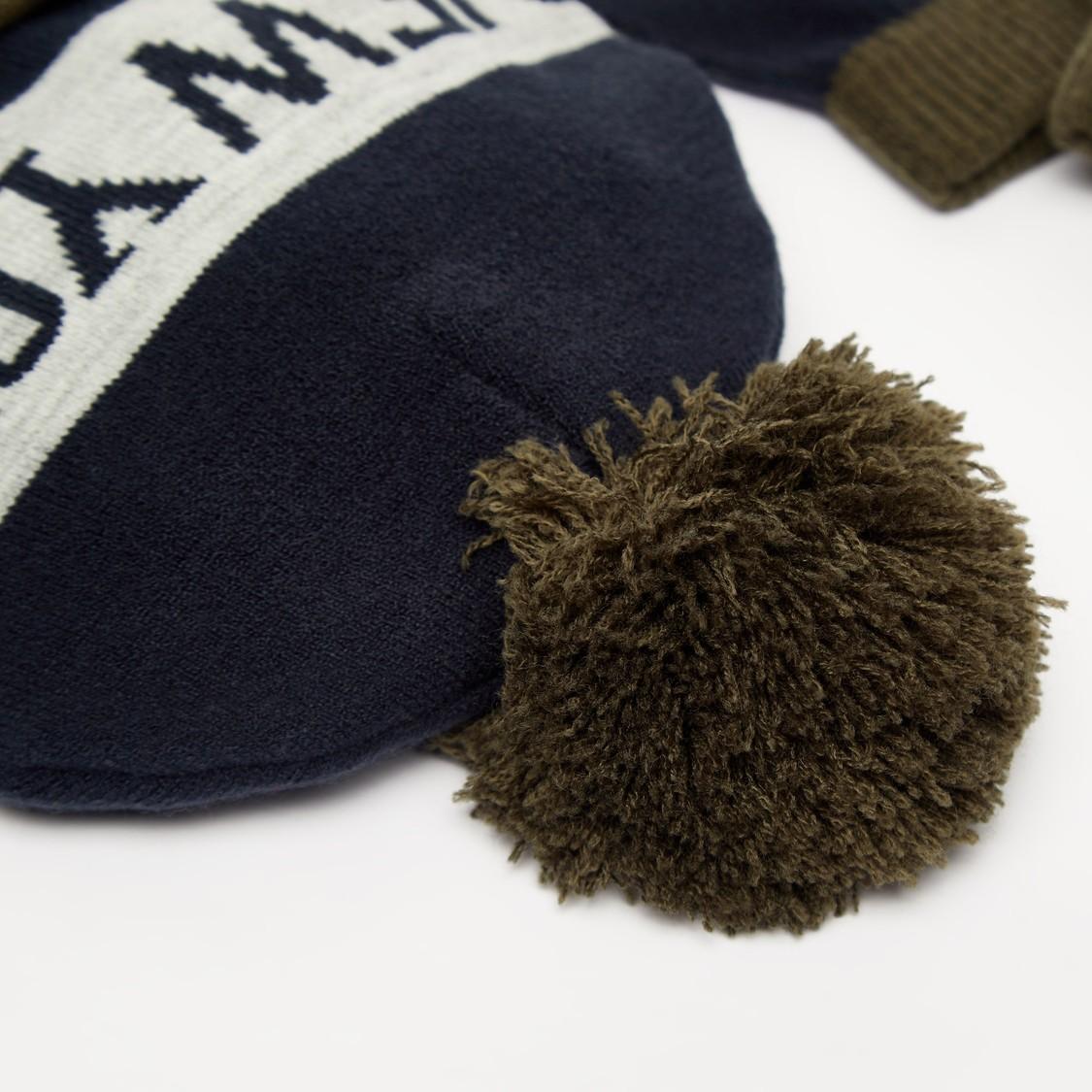 طقم  قبعة بيني وقفازات بارز الملمس