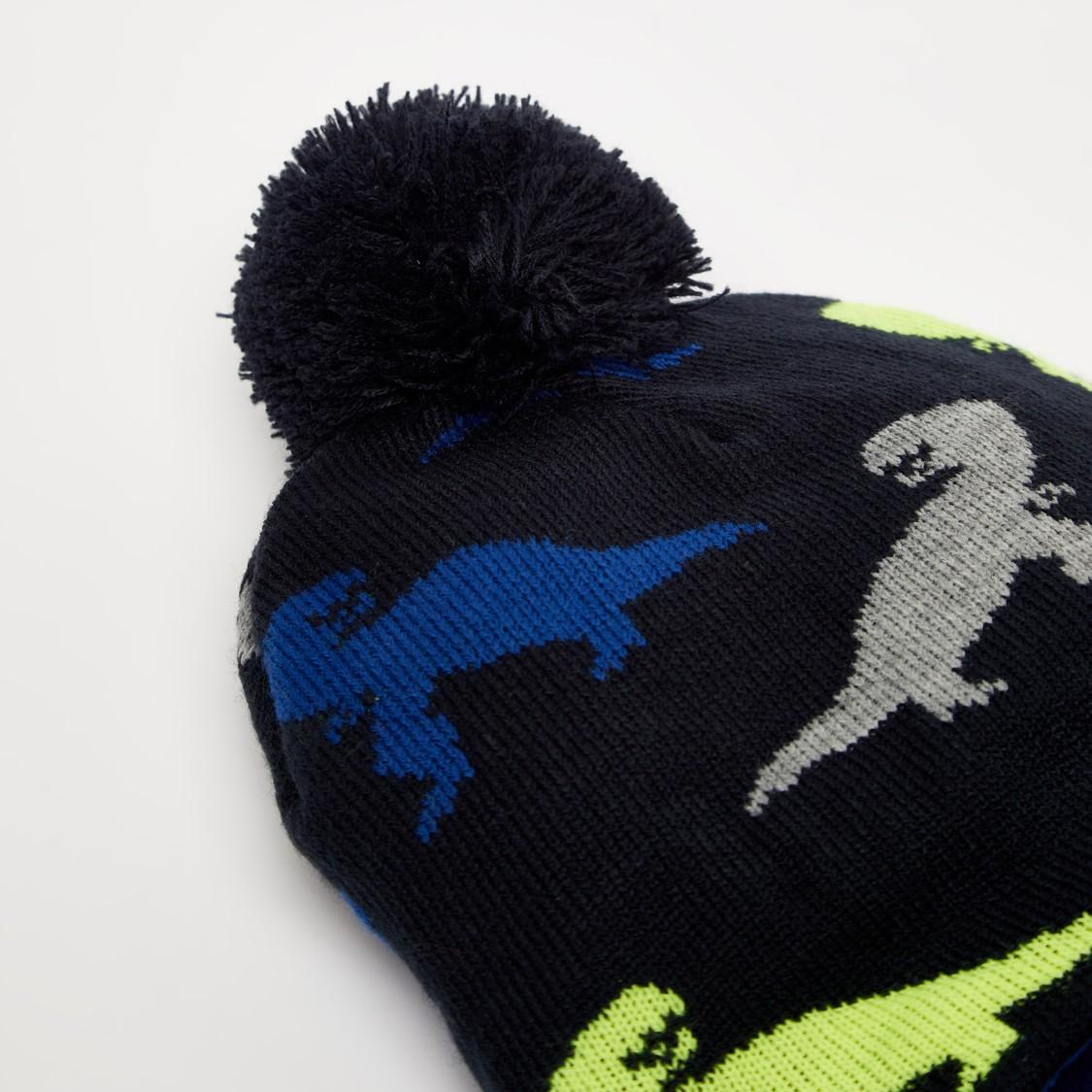 طقم قبعة بيني و قفازات بتصميم ديناصور بارز الملمس