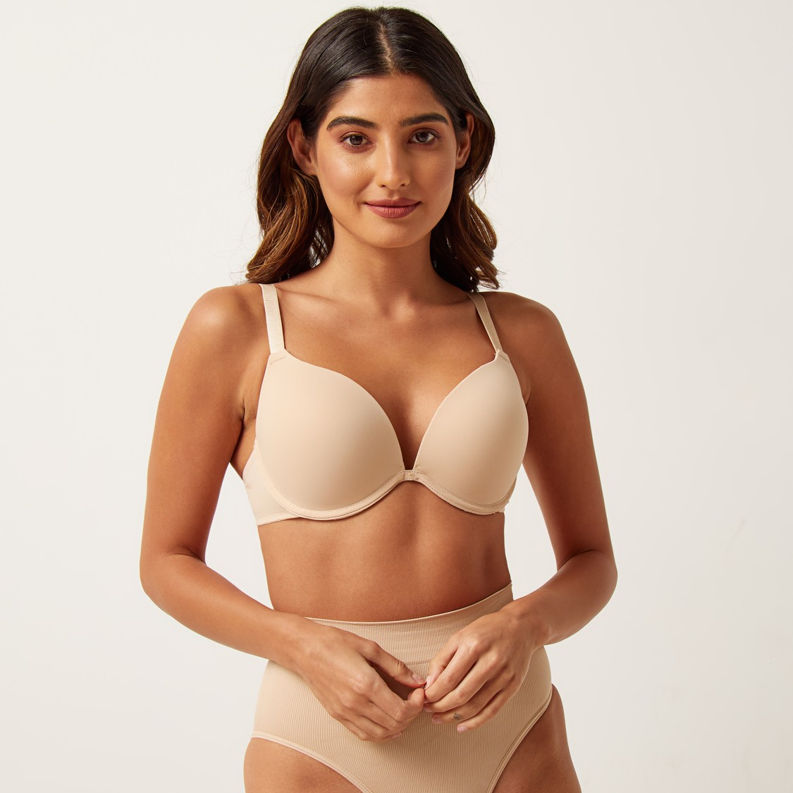 Solid Padded Push-up Bra with Hook and Eye Closure