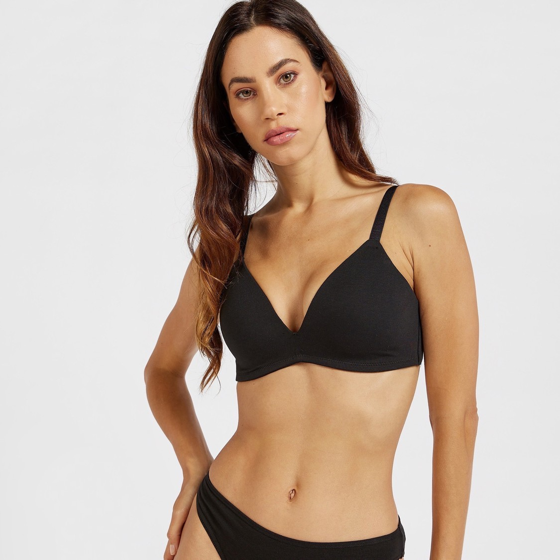 Solid Padded Plunge Bra with Hook and Eye Closure