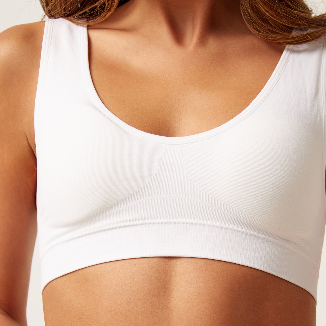 Padded Seamless Support Bra with Scoop Neck