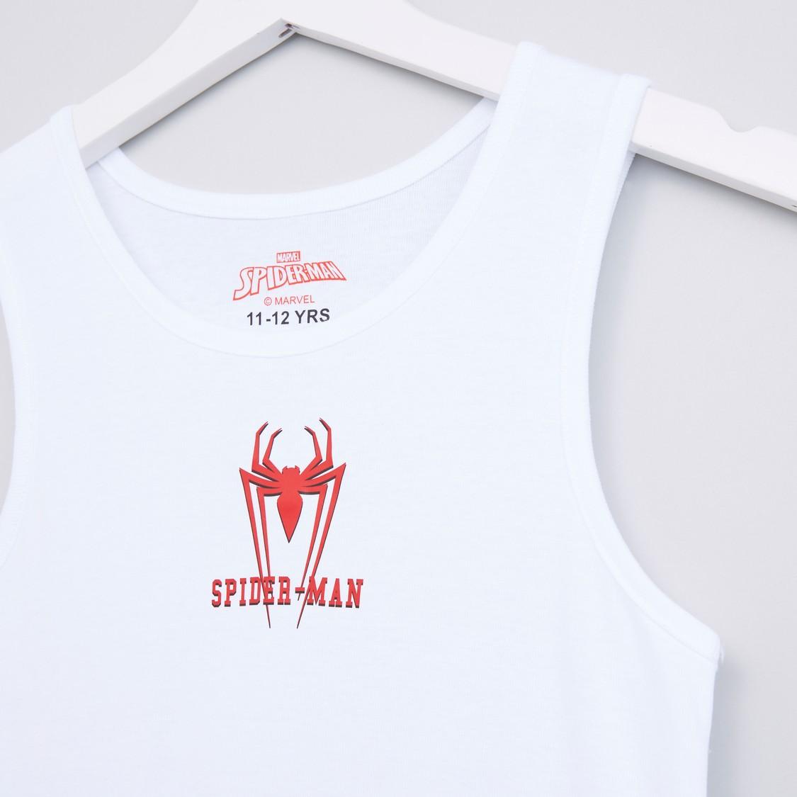 Spider-Man Printed Round Neck Sleeveless Vest - Set of 2