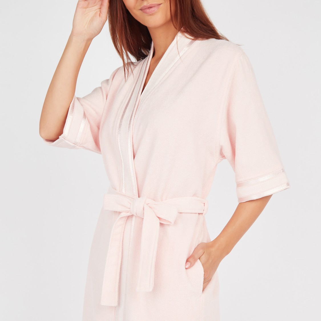 Textured Bathrobe with 3/4 Sleeves and Tie-Ups