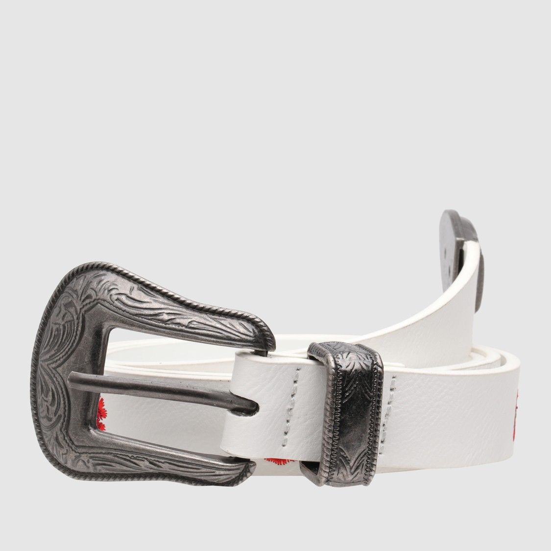 Embroidered Belt with Pin Buckle Closure