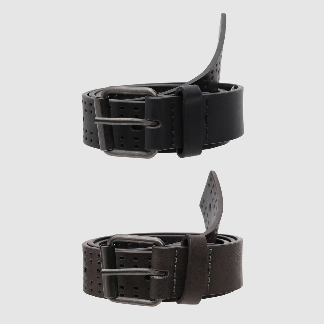 Textured Casual Belt wit Cutwork Detailing