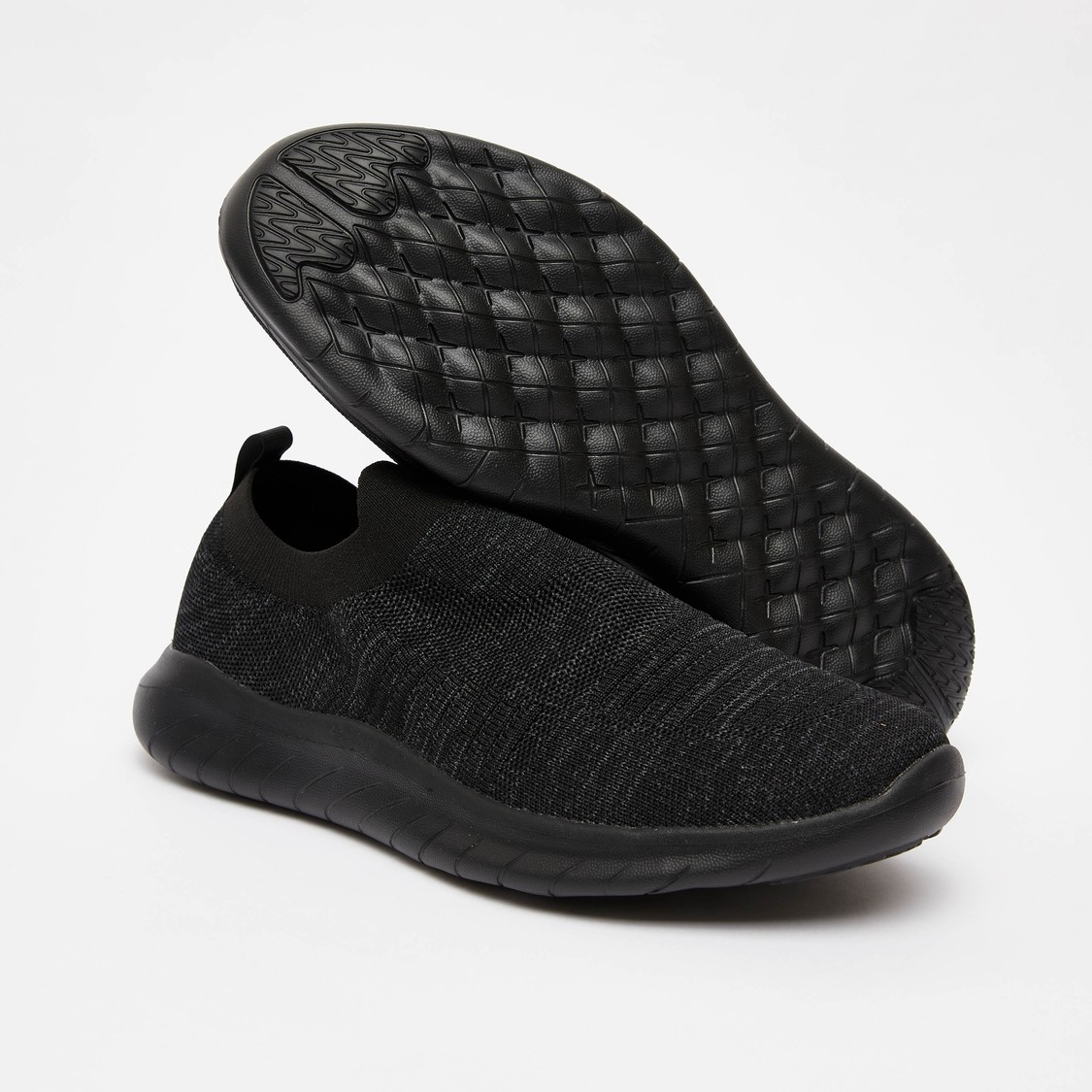 Textured Sports Shoes with Elasticised Gusset and Pull Tab