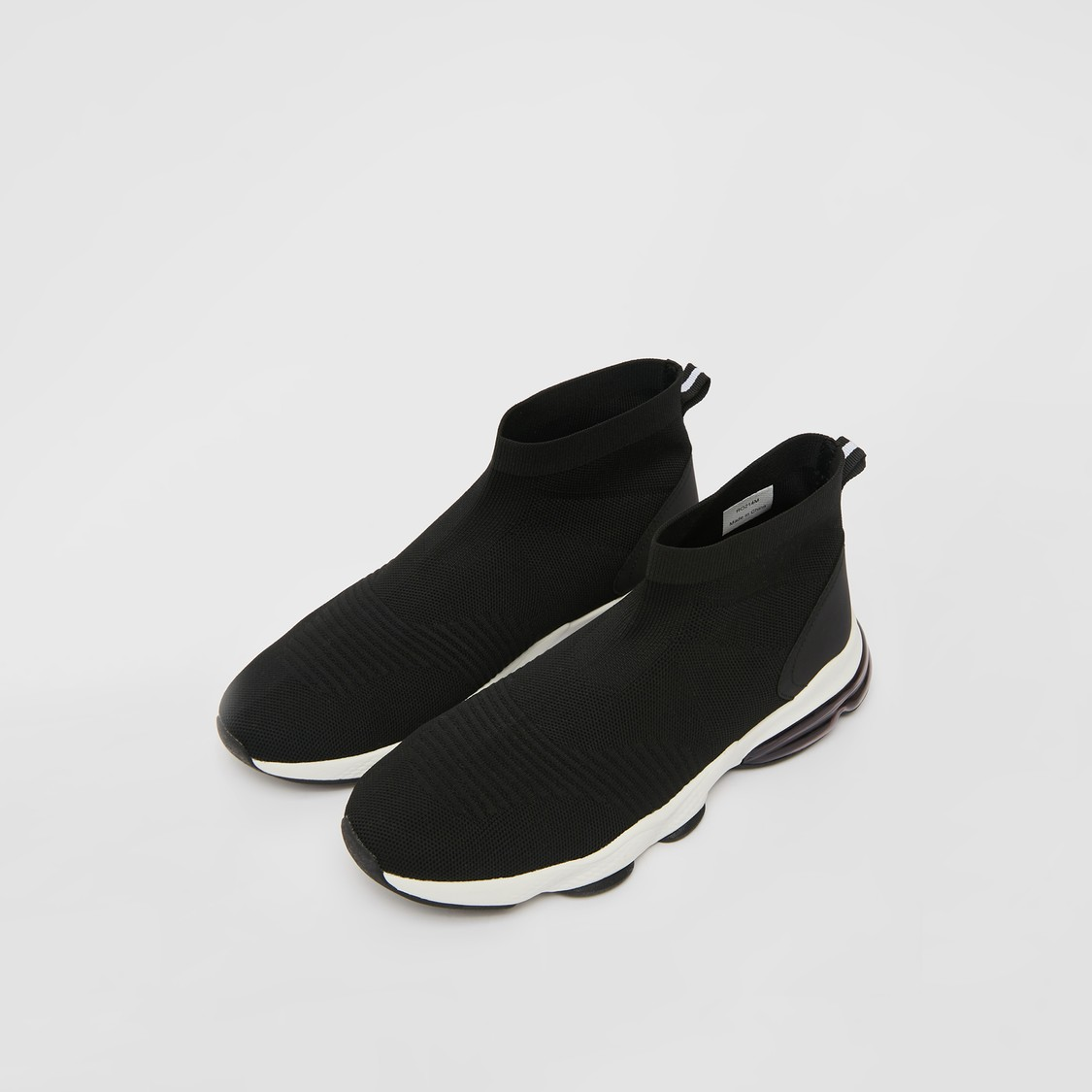 Solid High Cut Shoes with Pull Tab