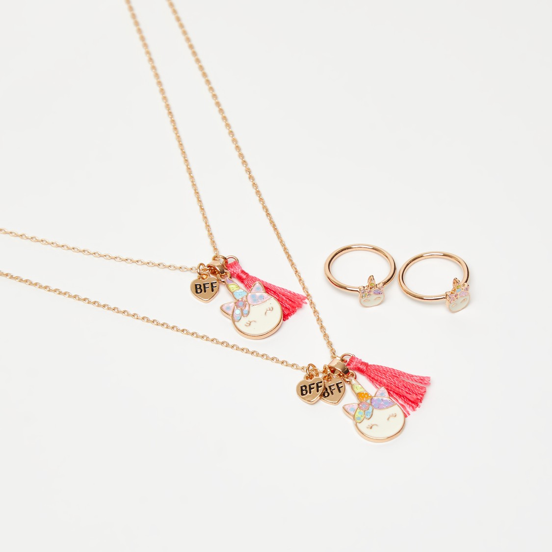 Set of 4 - Embellished Necklace with Ring