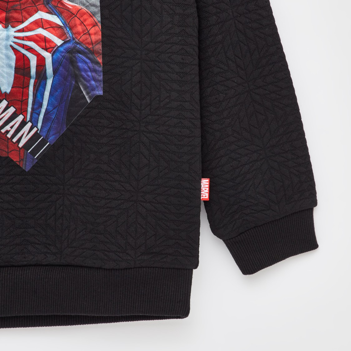 Spider-Man Print Round Neck Sweatshirt with Long Sleeves