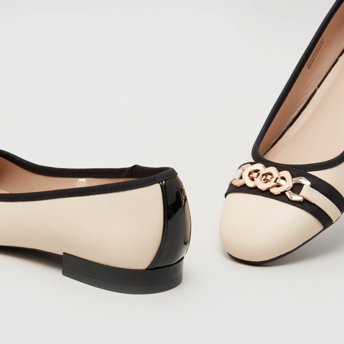 Metallic Applique Detail Ballerina Shoes