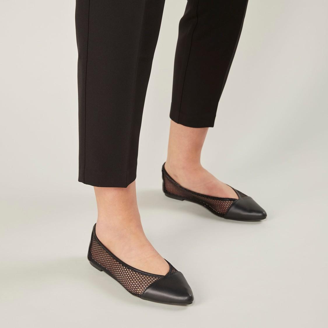 حذاء باليرينا شبكي بارز الملمس