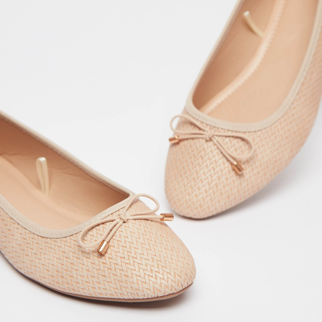 Textured Ballerinas with Bow Applique