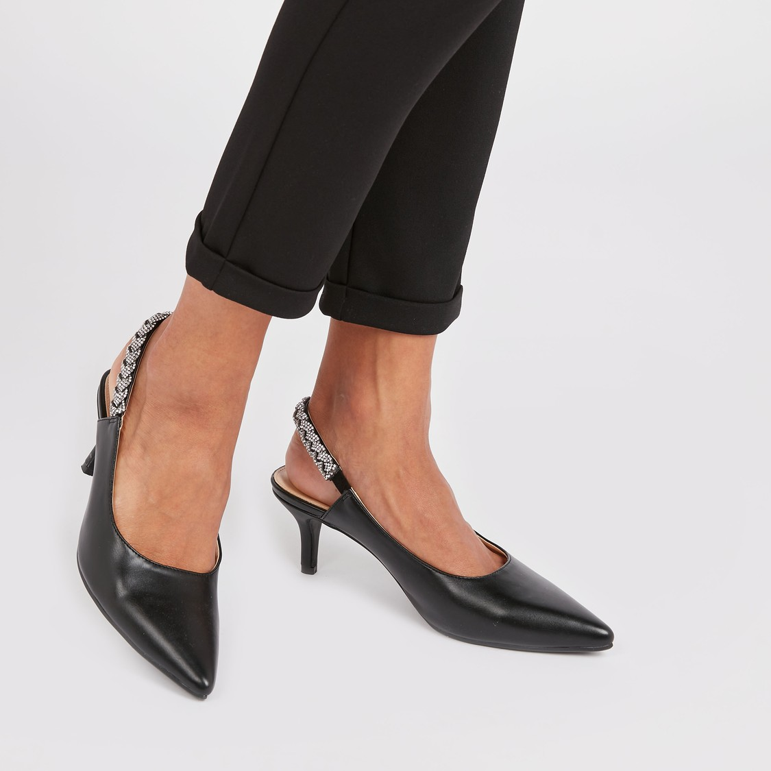 Textured Shoes with Studded Slingback and Kitten Heels