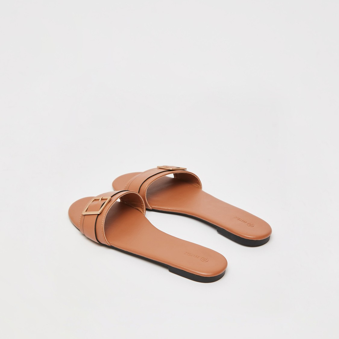 Slip-On Flat Sandals with Buckle Detail
