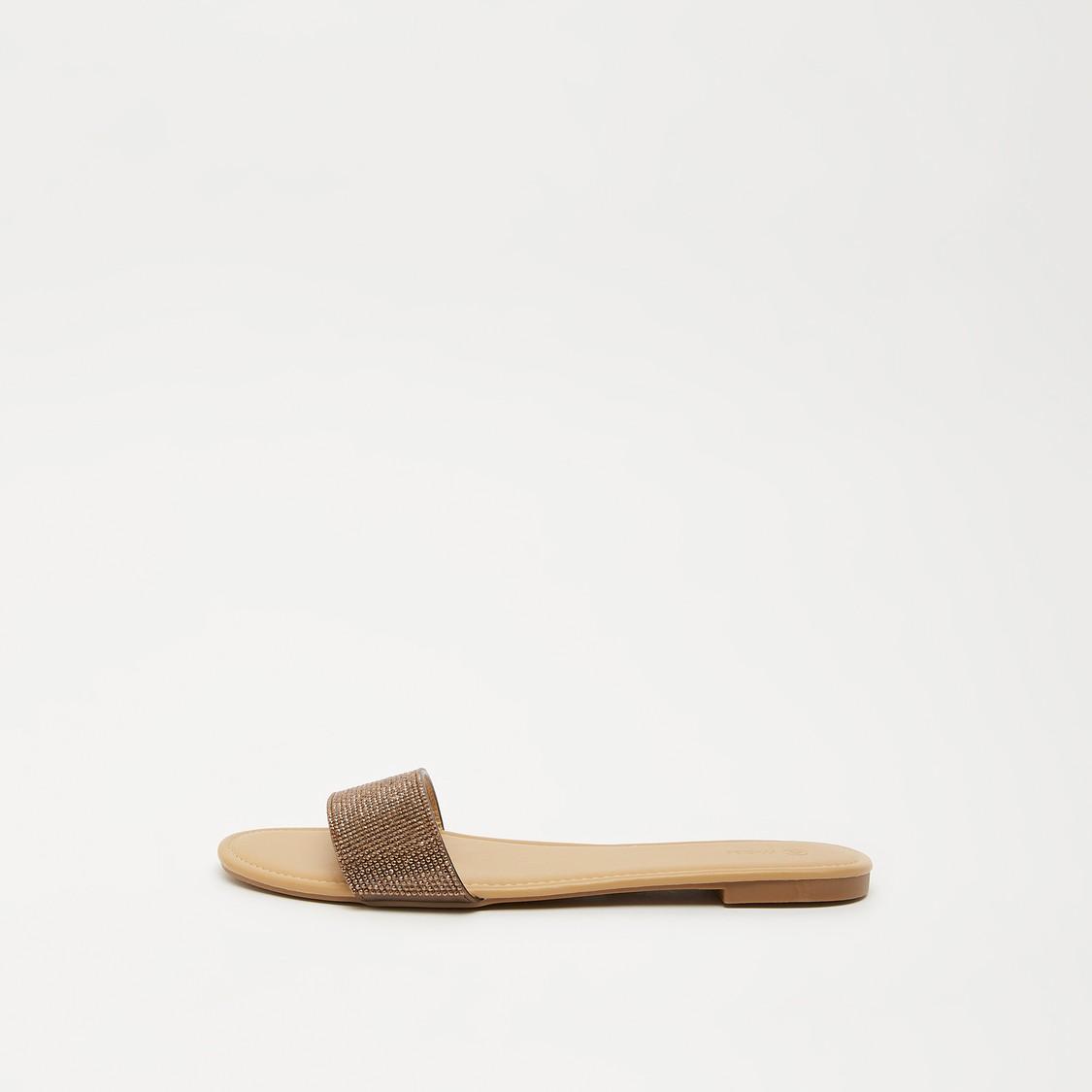 Embellished Open-Toe Slip-On Sandals