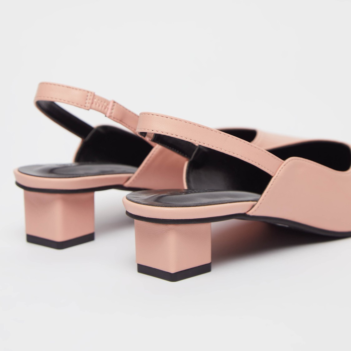 Solid Slingback Sandals with Block Heels