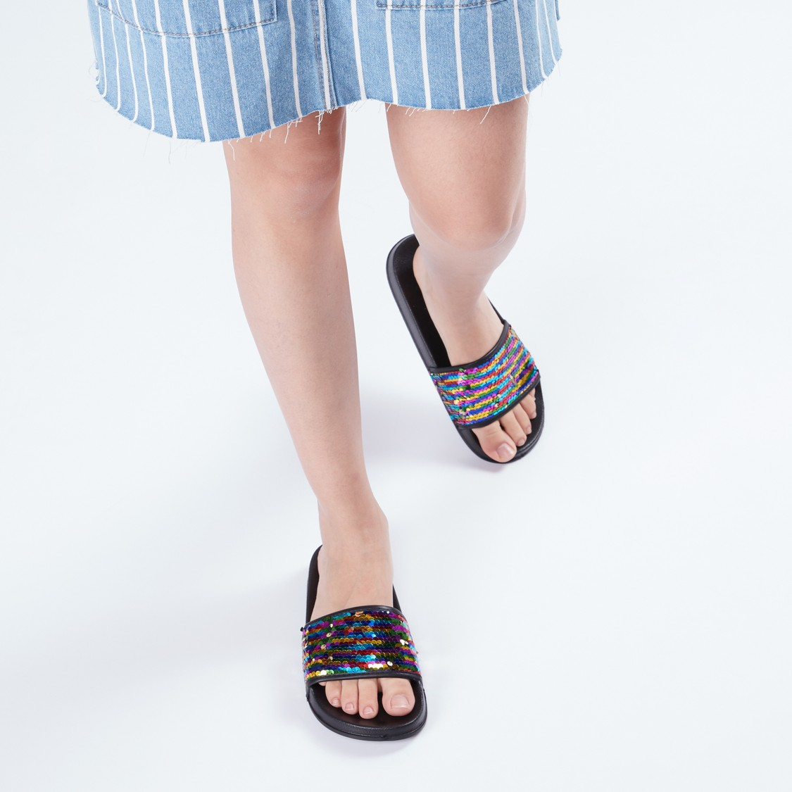 Slides with Sequin Detail Straps