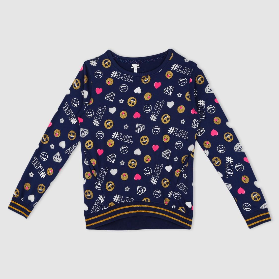 Emoji Print Sweat Top
