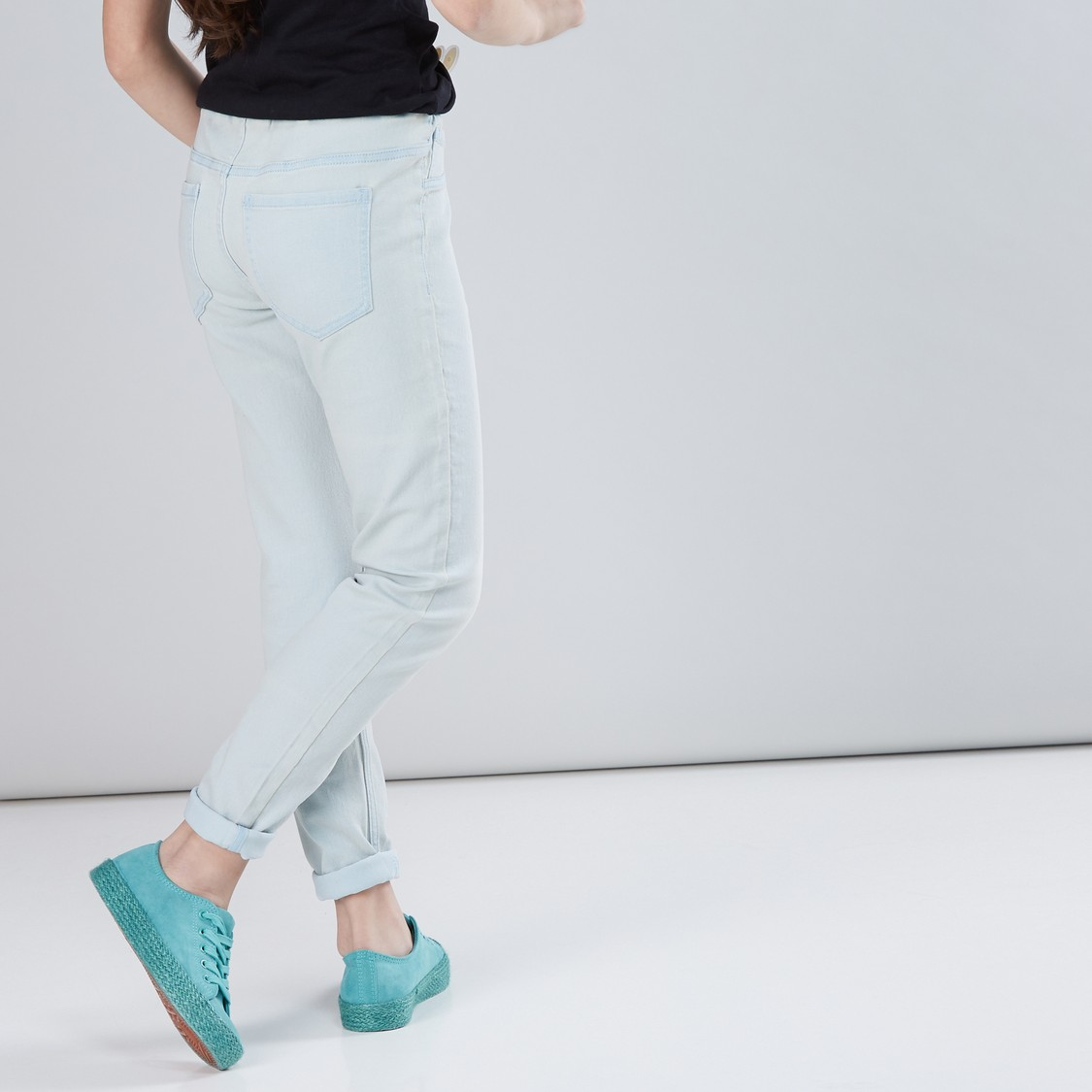 Full Length Jeggings with Elastcised Waistband and Pocket Detail