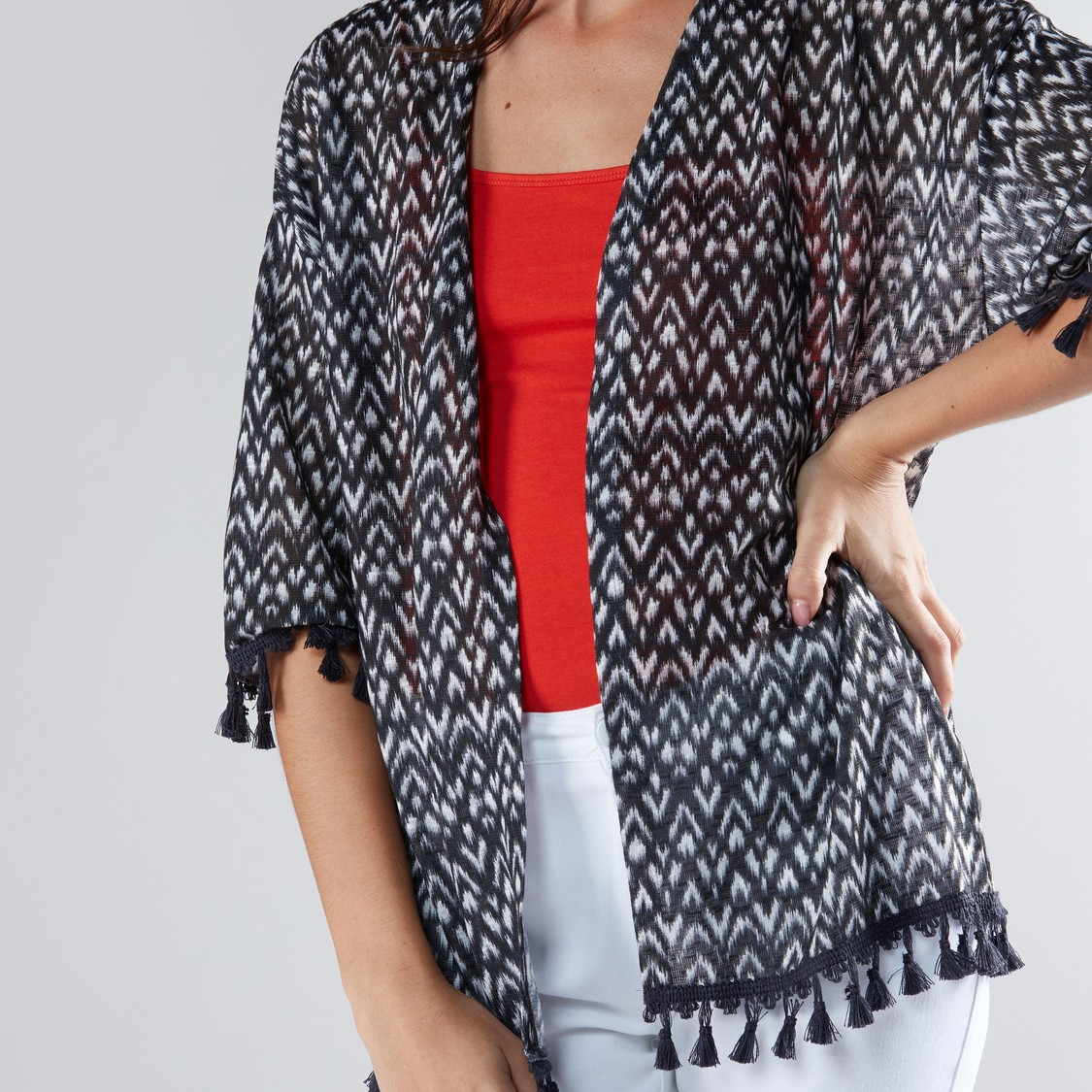 Printed Open Front Kimono Shrug with Tassels