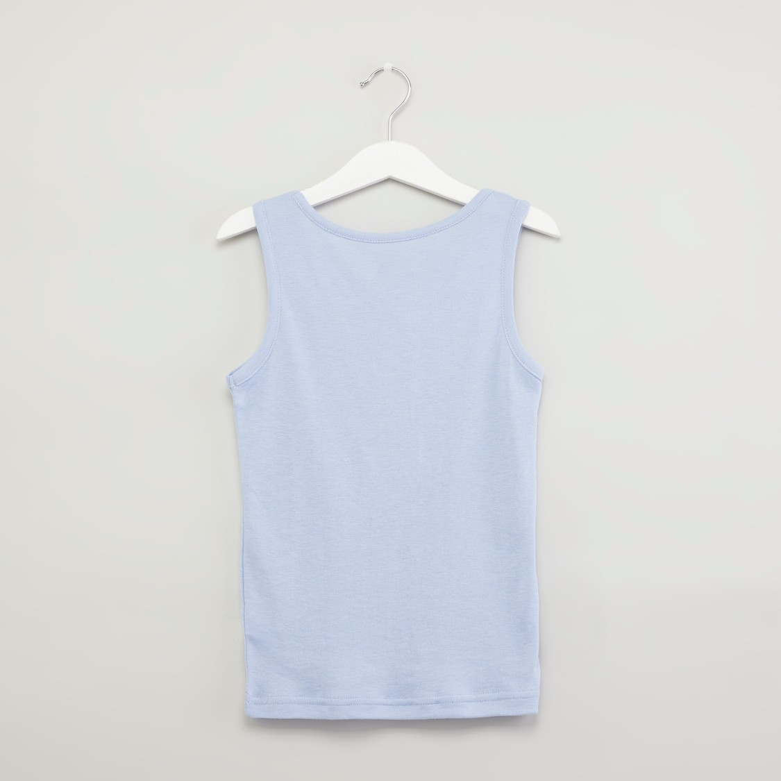 Set of 2 - Plain Sleeveless Vests with Round Neck