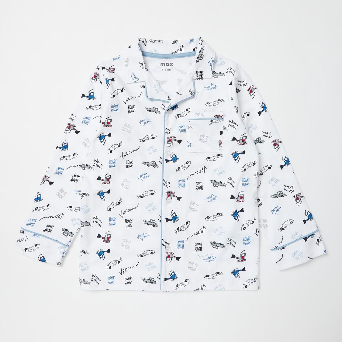 All-Over Print Long Sleeves Sleepshirt and Full Length Pyjama Set
