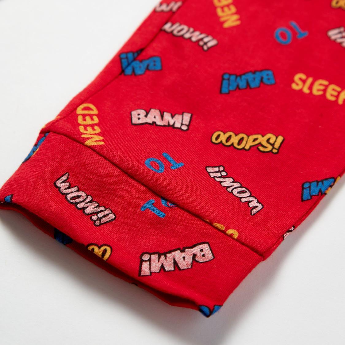 Graphic Print Long Sleeves T-shirt and All-Over Print Pyjama Set