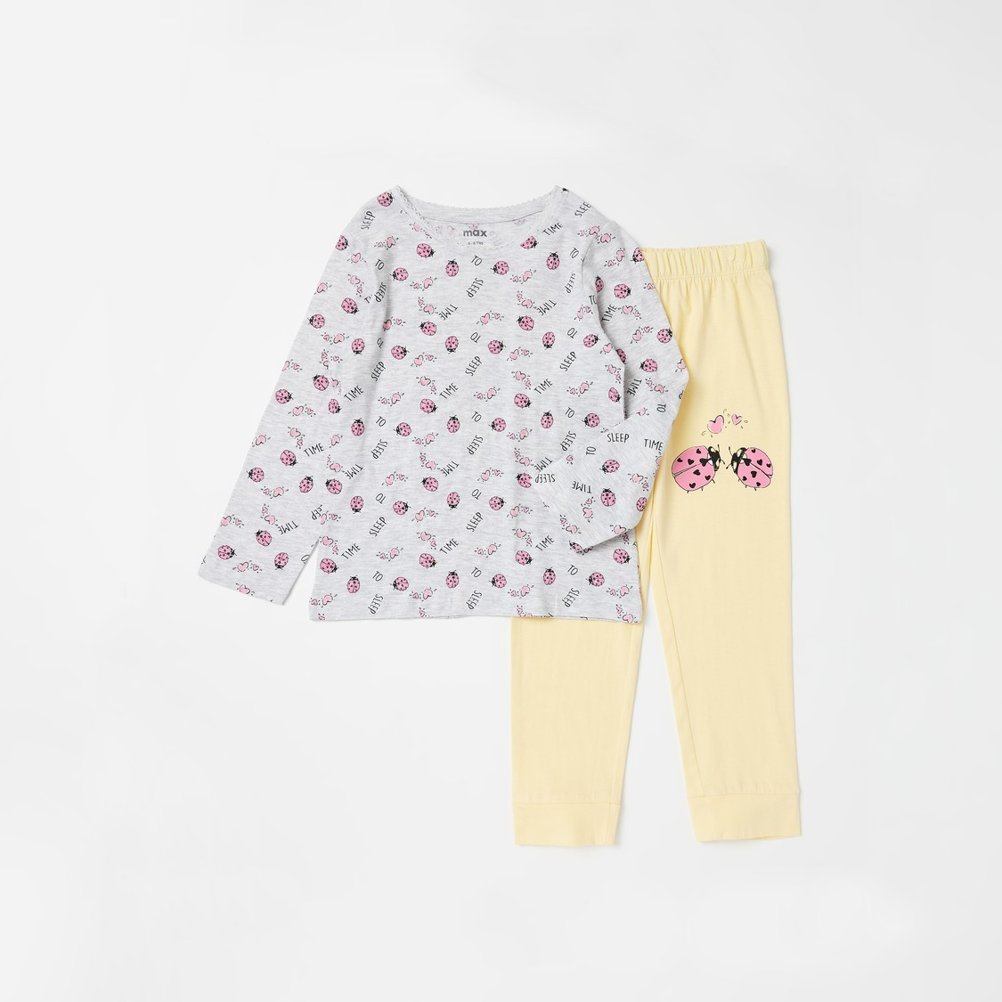 Set of 2 - Graphic Print T-shirt and Full Length Pyjamas