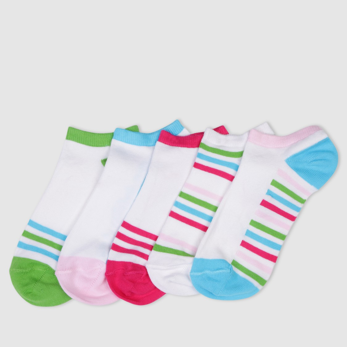 Striped Ankle Socks - Set of 5