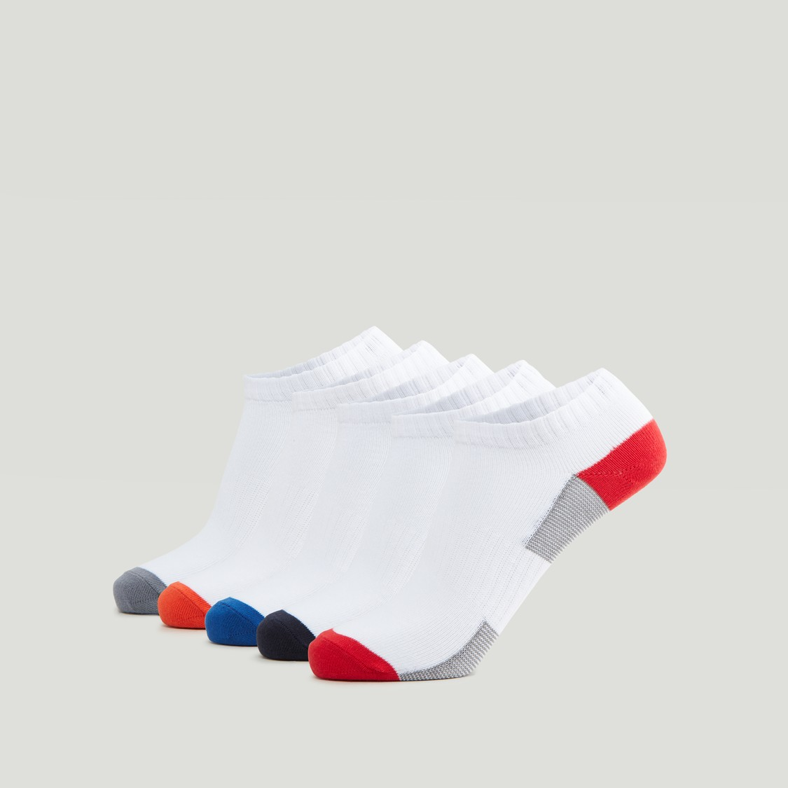 Set of 5 - Printed and Textured Ankle Length Socks