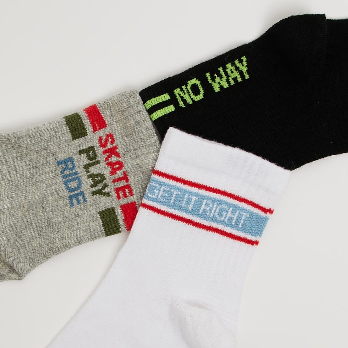 Pack of 3 - Textured Crew Length Socks with Cuffed Hem